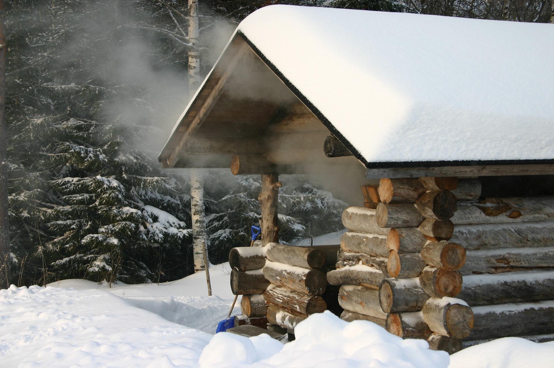 Aurav suitsusaun talvel