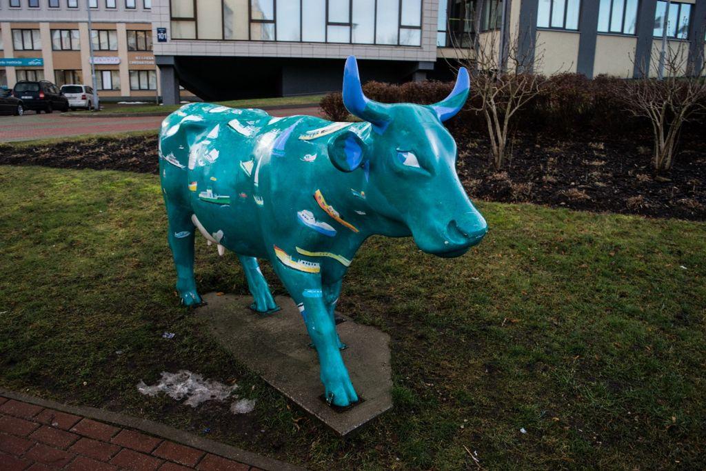 Üks paljudest lehmakujudest Ventspilsis